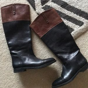 Black and Brown Leather Riding Boots